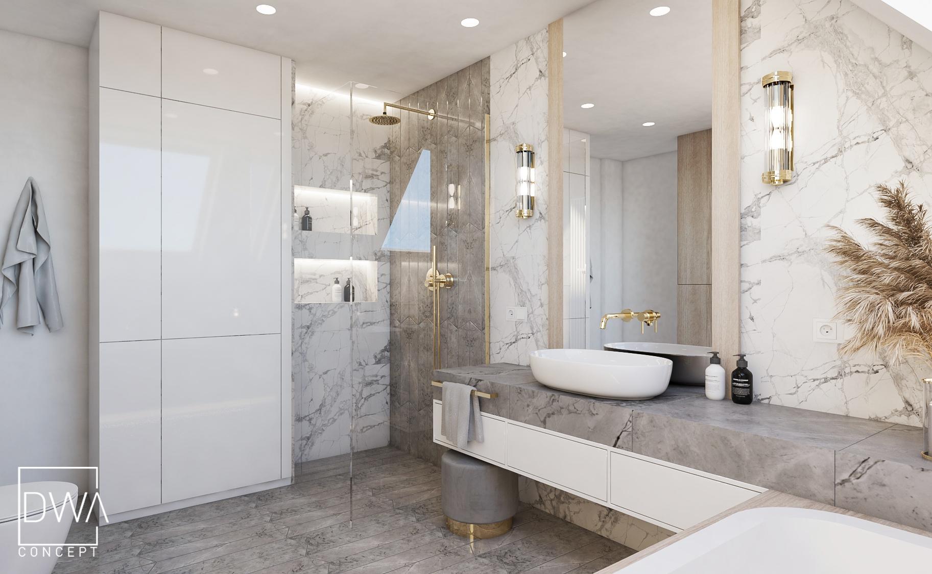 łazienka glamour projekt wnętrz projektowanie wnętrz dwaconcept architekt wnętrz sosnowiec nowy targ rabka zdrój projektant wnętrz kraków małopolska, projektowanie wnętrz Wadowice