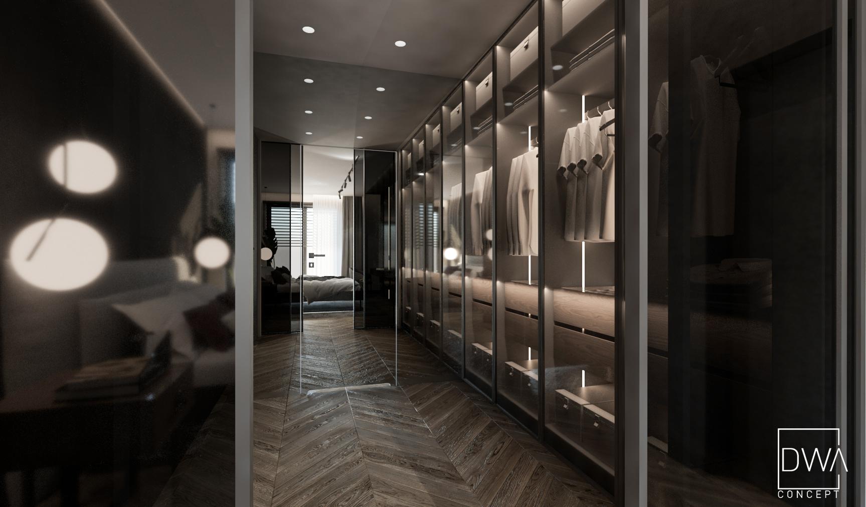 projekt wnętrz domu w Rabce-Zdrój strefa nocna sypialnia garderoba łazienka, all in black, ciemne kolory, ciemna sypialnia, beton, przeszklona garderoba projekty wnętrz Rabka-Zdrój, projektant wnętrz, projektowanie wnętrz Kraków, projekty wnętrz Zakopane, Nowy Targ