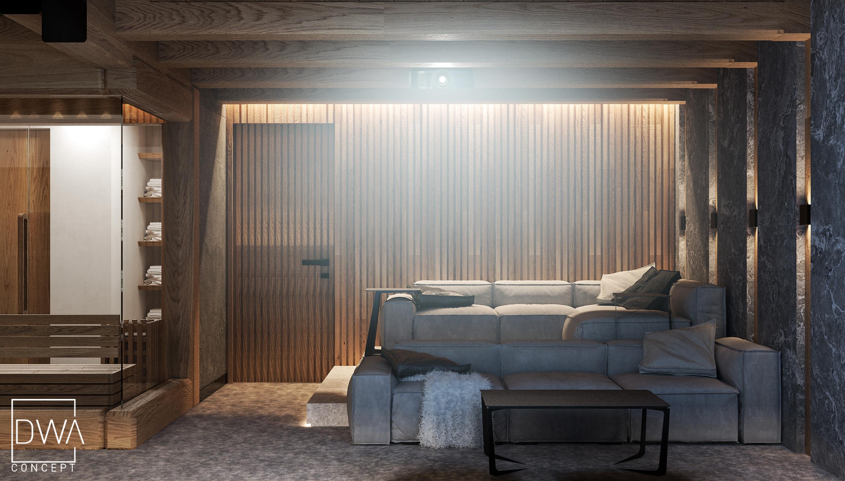 kino domowe z barem i sauną, projekt willi w Zakopanem strefa nocna dwaconcept
