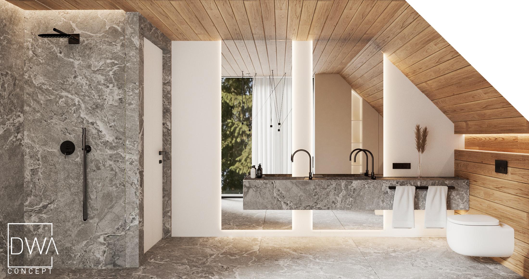 salon kąpielowy projekt willi w Zakopanem strefa nocna dwaconcept projekty wnętrz Zakopane, projekty wnętrz góralskie, wnętrz góralskie, architekt wnętrz zakopane, architekt wnętrz rabka