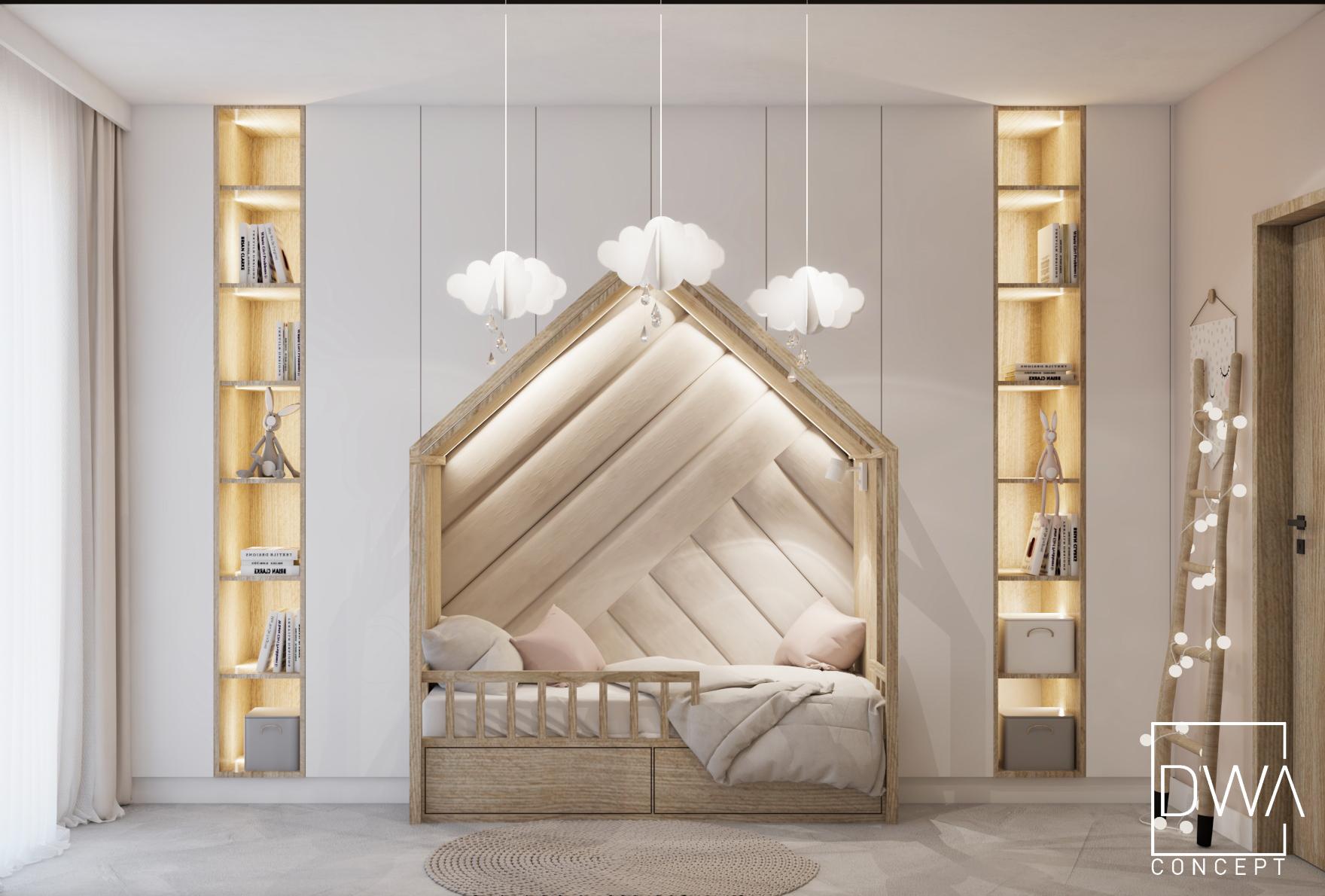 projekt pokoju dziecięcego dwaconcept projektant wnętrz zakopane rabka kraków architekt wnętrz bielsko pokoje dziecięce beż róż dwaconcept