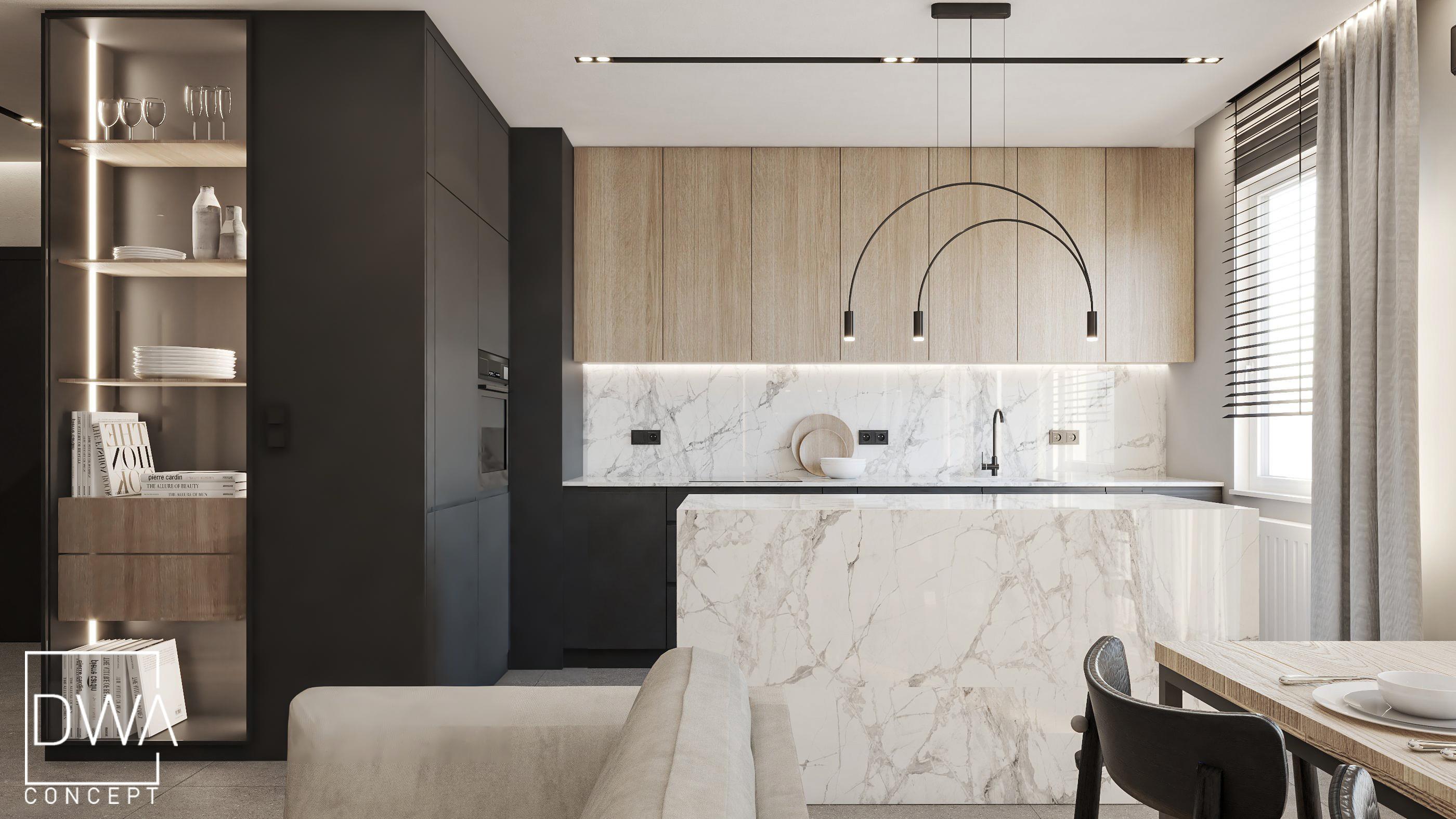 projekt wnetrz apartamentu krakow architektura wnetrz krakow projekty apartamentów dwaconcept architekt wnętrz drewno spiek marmur beton