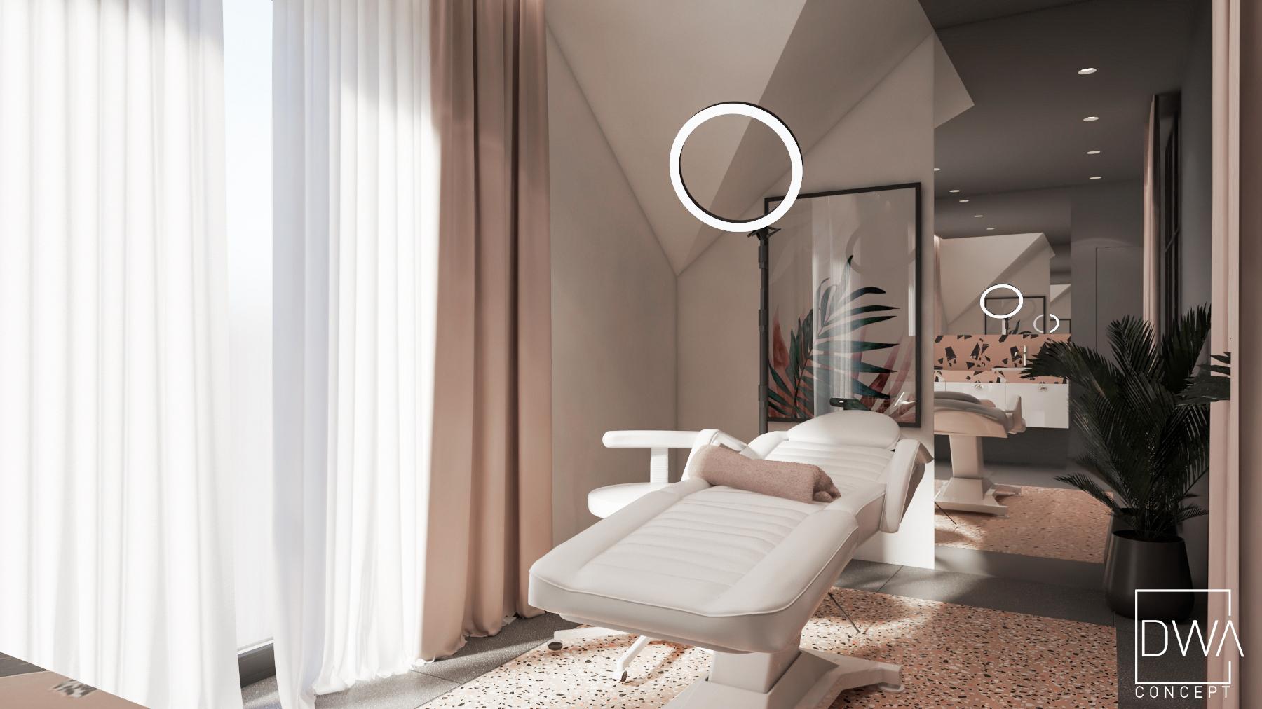 salon kosmetyczny rabka-zdrój projekt wnetrz salonu kosmetycznego salon kosmetyczny pudrowy róż, makijaż permanentny, salon makijazu archietkt wnętrz projektant zakopane rabka zdrój kraków